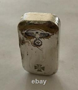 1871 style Iron cross Greman Eagle 100g SILVER hand poured bar 999. NOT NAZI
