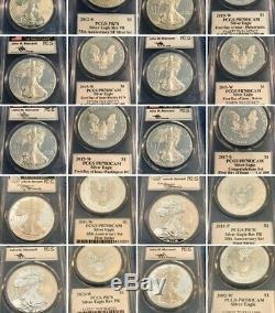 1986-2019 34 Coin Proof Silver American Eagle Set PR 70 PCGS John Mercanti