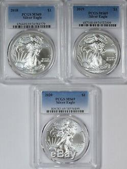 1986-2020 American Silver Eagles Complete 35-Coin Set Each Graded PCGS MS69