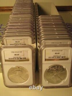 1986 2021 American Silver Eagle 36 Coin Set Ngc Ms69 Brown Premium Coins Pq