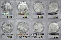 1986-2021 American Silver Eagles Complete 36-Coin Set Each Graded PCGS MS69