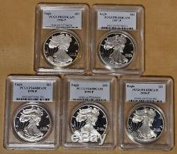 1986 to 2005 Proof American Eagle Silver Dollar Set PCGS PR69DCAM