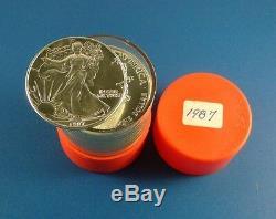 1987 American Eagle 1oz Silver Bullion Coins Roll of 20 UNC