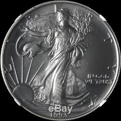 1993 Silver American Eagle $1 NGC MS70 Bright White Superb Eye Appeal