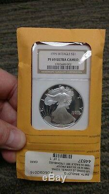 1995 W $1 NGC PF69 Ultra Cameo PROOF American Silver Eagle 10th Anniversary