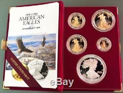 1995 W Gold & Silver American Eagle 10th Anniversary 5 Coin Proof Set Ogp