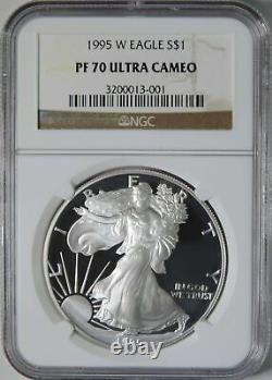1995 W Proof American Silver Eagle ASE 1oz Coin NGC Graded PF70 Ultra Cameo