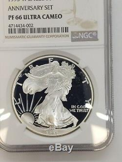 1995-W Proof Silver American Eagle Anniversary Set NGC PF 66 ULTRA CAMEO