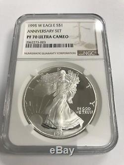 1995-W Proof Silver American Eagle PF-70 Ultra Cameo ANNIVERSAR SET NGC Key date