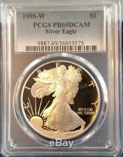1995-w American Eagle Silver Dollar Pcgs Pr69dcam