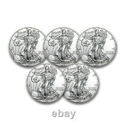 1 oz American Silver Eagles $1 BU Coins (Random Year) Lot of 5