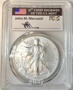 2001 $1 Silver American Eagle FIRST STRIKE PCGS MS70 MERCANTI