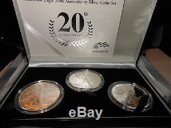 2006 American Eagle 20th Anniversary Silver Three Coin Set Original Pack. & Coa
