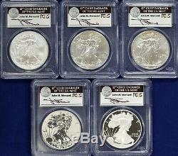 2011 Silver Eagle 5-Coin Set Each PCGS 70 First Strike 25th Anniversary Set