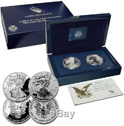 2012 AMERICAN EAGLE SAN FRANCISCO TWO COIN SILVER PROOF SET w CASE, BOX & COA