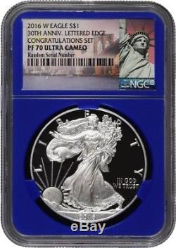 2016 W $1 Silver American Eagle 30th Anniversary Congratulations Set NGC PF70 UC