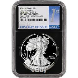 2016-W American Silver Eagle Proof NGC PF70 UCAM First Day of Issue 1st Black