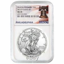 2017 (P) American Silver Eagle NGC MS-70 White Core Liberty Bell Label
