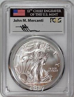 2017 (P) Silver Eagle Struck at Philadelphia PCGS MS70 First Strike Mercanti