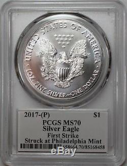 2017 (P) Silver Eagle Struck at Philadelphia PCGS MS70 First Strike Mercanti
