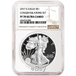 2017-S Proof $1 American Silver Eagle Congratulations Set NGC PF70UC Brown Label
