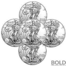 2017 Silver 1 oz American Eagle BU (5 Coins)