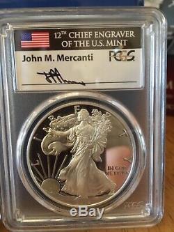 2018 S MERCANTI FLAG Silver Eagle 4-COIN CITY SET PCGS PR70 FDOI POP 60