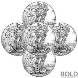 2018 Silver 1 oz American Eagle BU (5 Coins)