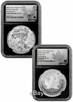 2019 1oz Silver Eagle & Maple Pride Two Nations NGC PF70 FR Blk PRESALE SKU58577