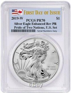 2019 2-Coin Pride of Two Nations Set Silver Eagle Maple FDOI PCGS PR70