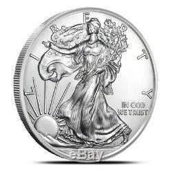 2019 American 1 Oz Silver Eagle Lot of 20 BU Coins in U. S. Mint Tube / Roll