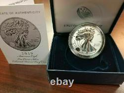 2019 American Eagle One Ounce Silver ENHANCED REVERSE Proof S Dollar. 999 19XE
