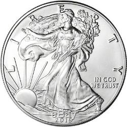 2019 American Silver Eagle 1 oz $1 5 Rolls 100 BU Coins in 5 Mint Tubes