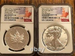 2019 Pride of Two Nations 2 pc. Set U. S. Set NGC PF70 Early Release Flags Label