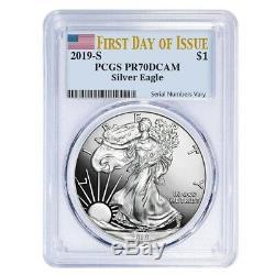 2019-S 1 oz Proof Silver American Eagle PCGS PF 70 DCAM FDOI