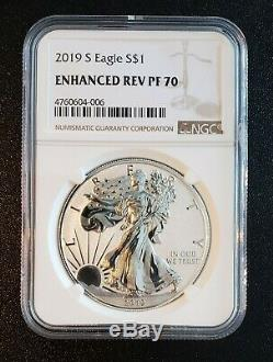 2019-S American Eagle One Ounce Silver Enhanced Reverse Proof Coin PF70 No COA