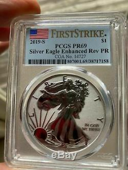 2019 S American Silver Eagle Enhanced Reverse Proof Coin, PCGS, Low Mintage