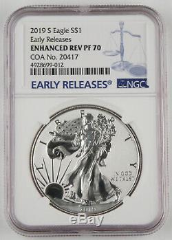 2019 S American Silver Eagle Enhanced Reverse Proof NGC PF70 ER COA#20417