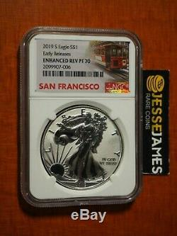 2019 S ENHANCED REVERSE PROOF SILVER EAGLE NGC PF70 EARLY RELEASE TROLLEY With OGP