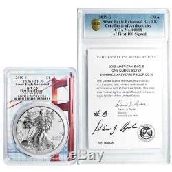 2019-S Enhanced Reverse Proof $1 American Silver Eagle / COA #00008 Signed PCGS