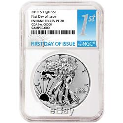 2019-S Enhanced Reverse Proof $1 American Silver Eagle / COA # NGC PF70 FDI Firs