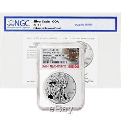 2019-S Enhanced Reverse Proof $1 American Silver Eagle / COA # NGC PF70 FDI Trol
