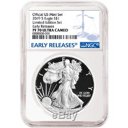 2019-S Limited Edition Proof Set $1 American Silver Eagle NGC PF70UC Blue ER Lab