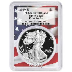 2019-S Proof $1 American Silver Eagle PCGS PR70DCAM FS Flag Frame