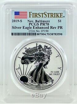 2019-S RARE Nov. BALTIMORE Enhanced Reverse Proof Silver Eagle 19XE PCGS FS PR70