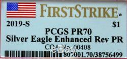 2019-S Silver Eagle Enhanced Reverse PROOF PCGS PR 70 FIRST STRIKE COA #408