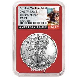2019 (W) $1 American Silver Eagle 3 pc. Set NGC MS70 Blue ER Label Red White Blu