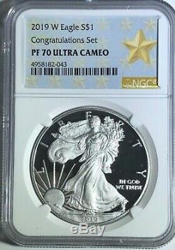 2019 W $1 Congratulations Set Ngc Pf70 Ultra Cameo Silver American Eagle Star Lb