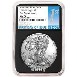 2019-W Burnished $1 American Silver Eagle NGC MS70 FDI First Label Retro Core