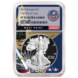 2019-W Proof $1 American Silver Eagle NGC PF70UC FDI West Point Core